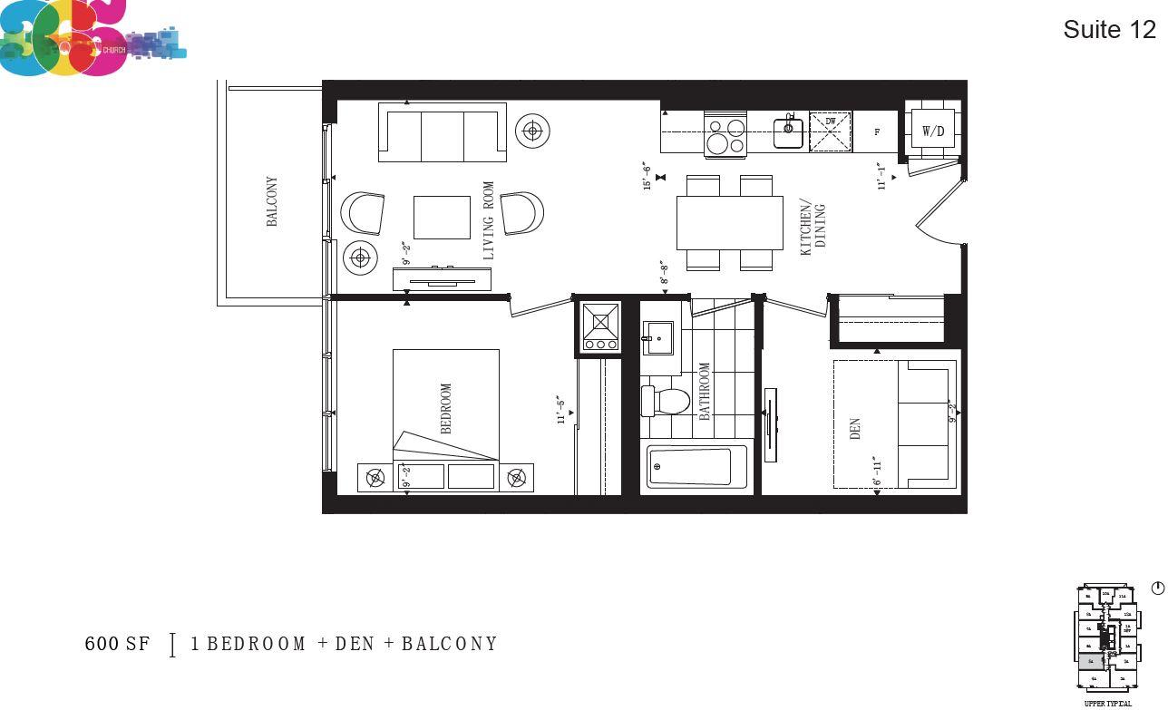 365 church 1 bedroom den assignment toronto new condos for Church floor plans free